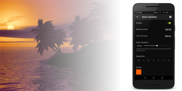 AwoX SmartCONTROL app Dawn Simulator
